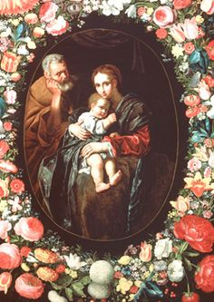 Jan Brueghel the Younger and Bartolomeo Cavarozzi, The Holy Family Surrounded with a Garland of Flowers, circa 1620 - 1625