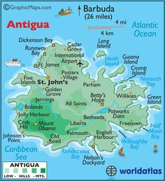 Antigua and Barbuda Large Color Map
