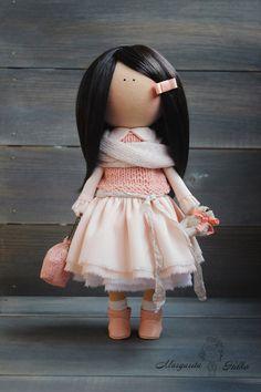 Handmade Art doll brunette peach color Collectable doll Baby doll Decor doll Home Tilda doll unique magic doll by Master Margarita Hilko