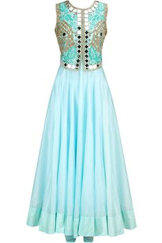 Ice blue anarkali set with mirror work falisa vest available only at Pernia's Pop-Up Shop.