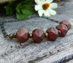 Czech Glass Necklace, Burgundy Red Picasso Beads, English Cut, Fancy Brass Chain, Rustic, Boho Chic Jewelry, Bohemian Style, Trendy Gift
