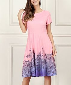 d995b7269a6a Another great find on #zulily! Pink & Purple Paisley Short-Sleeve Empire