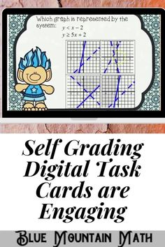 Boom Cards™ are a great way for students to practice every day skills In this 30- card deck, students practice identifying the correct graph that matches the given system of linear inequalities.This set of Boom Cards features different Digital Self-Checking Task Cards. (No printing, cutting, laminating, or grading!)