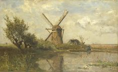 Paul Gabriël (Dutch 1828–1903) [Hague School] A Watercourse at Abcoude. Oil on canvas, 28.5 × 46.5 cm, Rijksmuseum Amsterdam.