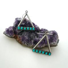 Vintage Turquoise Silver Triangle Earrings