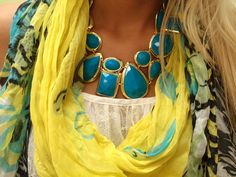 love this big turquoise statement necklace!   www.facebook.com/shopmaterialgirls