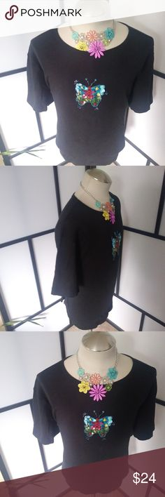 The Quaker Factory Black Top with Butterfly Good used condition. Smoke free and pet free environment. The Quaker Factory Tops