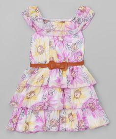 Look at this #zulilyfind! Purple Floral Belted Yoke Dress - Toddler & Girls by Unik #zulilyfinds