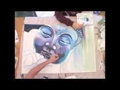 Buddha Acrylic Painting - YouTube Buddha Painting, Buddha Art, Acrylic Painting Canvas, Diy Painting, Painting Videos, Cool Artwork, Art Tutorials, Diy Art, Mixed Media