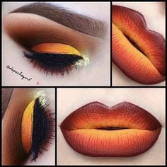 Fall inspired lips and eyes perfect for Halloween if you choose not to wear a full costume