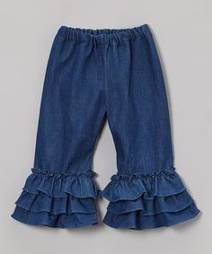 Look what I found on #zulily! Denim Ruffle Pants - Infant, Toddler & Girls by Barefoot Children's Clothing #zulilyfinds