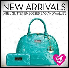 """NEW ARRIVALS!  Double your """"under the sea"""" magic with a #Loungefly x Disney Ariel Turquoise Glitter Embossed Bag and Matching Wallet.  http://www.loungefly.com/whatsnew/view-all-whatsnew/disney-ariel-turquoise-glitter-embossed-bag.html http://www.loungefly.com/whatsnew/view-all-whatsnew/disney-ariel-turquoise-glitter-wallet.html"""