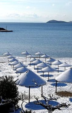 Beach covered with snow. Samos, Corfu, Harlequin Romance, My Land, Beach Covers, Greek Islands, Athens, Beaches, The Good Place