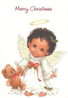 Vintage Ruth Morehead Christmas Card / Angel with Teddy Bear / Gibson / Unused | eBay