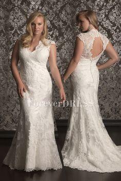 Handmade Lace V-neck Cut-outs Back Sheath Plus Size Wedding Dress