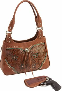 Concealed Carry Ambidextrous Tooled Western Handbag w/ Holster | The Wanted Wardrobe Boutique