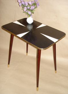 Vintage Side table, coffee table, black 60s Retro Germany Mid-century Atomic Space Age Era