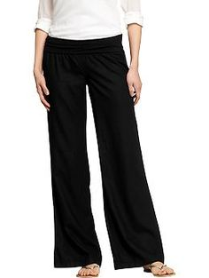These pants are magical. They fit on everyone nicely, they aren't too long, they aren't too sheer, they are comfy, and they washed and dried like a dream. I now have hot pink and black. Women's Linen-Blend Pull-On Pants | Old Navy