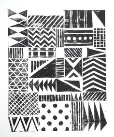 Print - Various Fun Patterns Linocut / 8 x 10 Wall Art / Black, Gold, Silver, Blue, Green, Yellow, Red