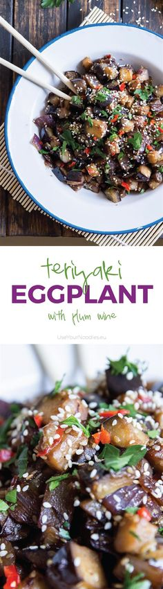 This scrumptious, flavor-filled teriyaki eggplant with plum wine is going to wake up your taste buds. Inspired by Japanese teriyake recipes. Vegan!