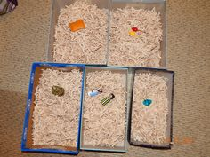 Lesson on Rahab hiding the spies.  Shoe boxes full of shredded paper (drying flax).  Hide object under paper,  Kids take turns searching for the spies.