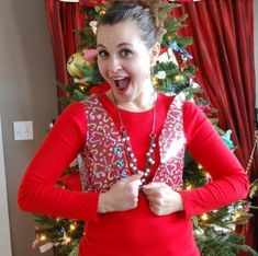 You are going to fa la la-fall over when you make this Duct Tape Ugly Sweater Vest for your Christmas themed parties this year! Holiday craft ideas are a great way to spread Christmas cheer, especially when they are budget-friendly. Tacky Christmas Party, Christmas Tree Ugly Sweater, Christmas Themes, Kids Christmas, Holiday Crafts, Holiday Fun, Christmas Stockings, Merry Christmas, Tacky Sweater