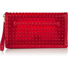 Valentino Studded leather-trimmed PVC clutch (2,355 CAD) ❤ liked on Polyvore featuring bags, handbags, clutches, red, valentino handbags, pvc purse, valentino purses, red handbags and studded handbags