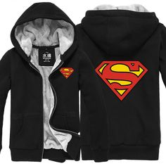 Superman classcial Superman logo velvet zip-up hoodie