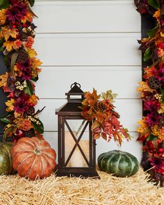 Settle in for a tranquil evening with the soothing glow of candlelight with this Seasonal Lantern with LED candles. Spruce up your porch steps, mantels or windows this fall season. Fall Lanterns, Christmas Lanterns, Bountiful Harvest, Fall Harvest, Realistic Christmas Trees, Halloween Decorations, Fall Decorations, Balsam Hill, Pumpkin Decorating