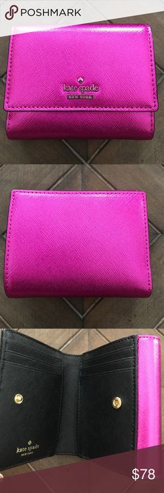 Kate Spade Tavy Wallet Kate Spade Tavey Cameron Street Metallic wallet.  Six card slip pockets, two additional slip pockets, one bill pocket and a snap closure for change. This wallet is a fun fuchsia metallic color.  kate spade Bags Wallets