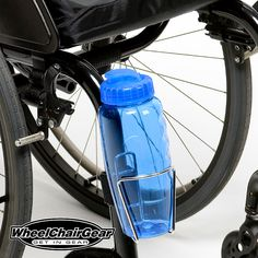 "Wheelchair Accessories Wheelchair Water Bottle Holder. Manufactured with a stainless steel frame and the best clamping system on the market today.Attaching to your chair, crutches or walker is quick and secure with the ""no scratch"" rubber grommet along with the adjustable Velcro tightening strap.  CLICK HERE http://www.wheelchairgear.com/product/wheelchair-water-bottle-holder/"