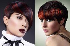 Red streaked hair