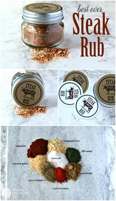 Steak Seasoning Dry Rub Make Your Own Steak Rub For Delicious Grilling All Summer Long. Use On Steak Or Burgers. Homemade Spices, Homemade Seasonings, Spice Rub, Spice Mixes, Spice Blends, Dry Rub For Steak, Best Steak Rub, Steak Rubs, Steak Marinades