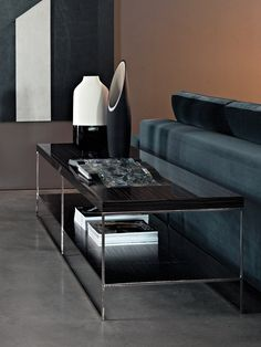 Minotti CALDER - COFFEE TABLES wood mahogany walnut gloss chrome
