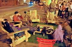 """""""Chair Bombing"""" is the act of placing homemade seating around the city and creating DIY public spaces. """"Chair Bombing"""" works to make the city more comfortable and stand in the face of privatization of public space. #Placemaking #LQC"""