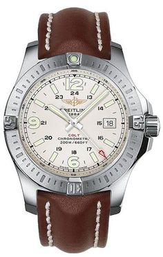 Breitling Colt Quartz 44MM Mens Watch A7438811/G792- Genuine Breitling with brushed steel case and stunning leather strap. Casual yet sophisticated style that is meant to impress!