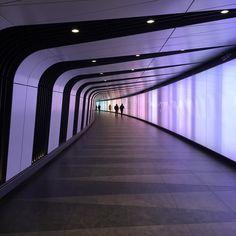 Oh London you beauty! Tunnel of love in Kings Cross of all places.  #London #tunnel #light #lightshow #purple #stripes #photobackdrop #epicelopement #london #kingscross #trainstation #kingscrossstpancras