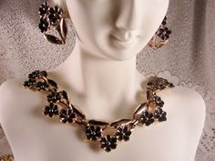 1950s Black Enamel Flower Ribbons Set in Gold Washed Metal Choker and Screw Back Earrings Set -Demi Parure by CarolsVintageJewelry on Etsy