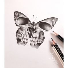 """This is a great sketch of a butterfly that has dead skulls as its wings. Most butterflies only have an average lifespan of about one week. Clegg visualizes Miranda as being dead and she is being treated like an """"object""""."""