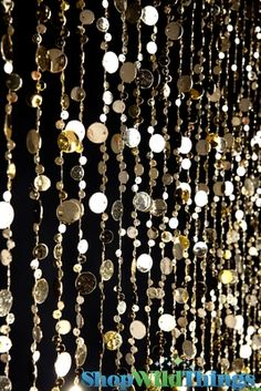 Gold Beaded Curtain, Bubbles Door Beads, Metallic Gold Backdrop, Buy Gold Decor, Gold Decorating Ideas - ShopWildThings.com