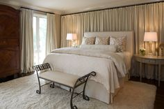 pretty master bedroom- Like the curtained wall -soft