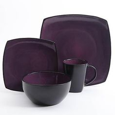 Square Dinnerware Set 16 Piece Plates Bowls Dishes Cups Kitchen Dinner Purple
