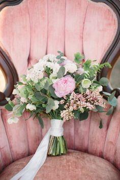 Peonies and eucalyptus rustic wedding bouquet