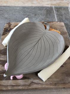 KarenLucid Pottery Greenware Hosta Leaf Dish click now for info. Hand Built Pottery, Slab Pottery, Pottery Mugs, Ceramic Pottery, Pottery Art, Thrown Pottery, Pottery Studio, Ceramic Clay, Ceramic Plates