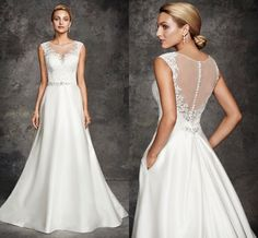 Ella Rosa 2016 Lace Wedding Dresses for Garden Wedding Sheer Neckline Appliqued Beaded Satin A Line Bridal Gowns with Illusion Back from Nicedressonline,$184.25 | DHgate.com