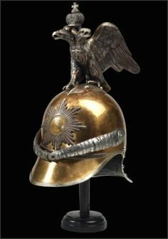 An officer's helmet from the imperial guards of the tsar, Russia, mid 19th century.