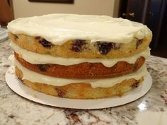This homemade, triple layered lemon cake with fresh blueberries is topped with a cream cheese frosting. Delicious and refreshing. Homemade Cherry Pies, Blueberry Cake, Cream Cheese Frosting, Cupcake Cakes, Cupcakes, Summer Recipes, Deserts, Lemon, Baking