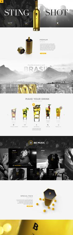 Pedro Julien& Portfolio › b – sting shot Layout Site, Page Layout Design, Website Design Layout, Web Layout, Modern Web Design, Web Ui Design, Flat Design, Design Design, Web Mobile