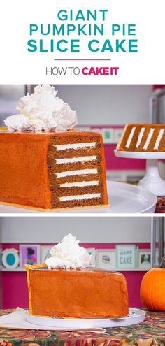 """Giant Pumpkin Pie Slice Cake 