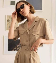 Ranch Style Fashion: So You Think You're a Cowboy - Ranch Style Fashion: So You Think You're a Cowboy Fall Fashion Ranch style khaki belted jumpsuit tiny sunglasses Look Fashion, Korean Fashion, Fashion Outfits, Fashion Tips, Fashion Trends, Fashion Mode, Lifestyle Fashion, Spring Fashion, Casual Outfits